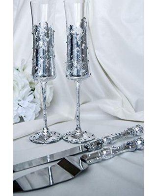 Silver wedding glasses with crystals Personalized toasting flutes and cake server Bling cake serving set Engraved cake knife and cutter