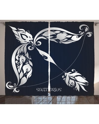Zodiac Astrology Sign Sagittarius with Flower Images Planetary Impacts on Nature Graphic Print & Text Semi-Sheer Rod Pocket Curtain Panels East Urban