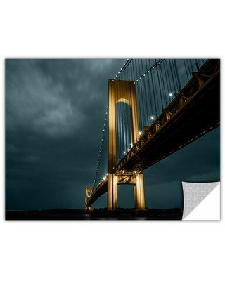 "ArtWall 'Bridge' by Revolver Ocelot Photographic PrintRemovable Wall Decal, Canvas/Fabric in Black, Size 12"" H x 18"" W x 0.1"" D 