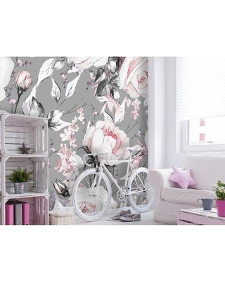 """House of Hampton Caron Removable Watercolor Vintage Flowers 8.33' L x 100"""" W Peel and Stick Wallpaper Roll BF182785"""