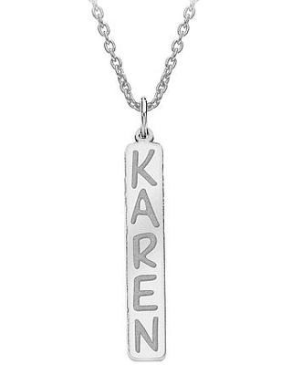 Personalized 35x6mm Vertical Nameplate Necklace, One Size , White