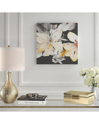 """House of Hampton 'Yellow Clematis on Gray' Watercolor Painting Print on Canvas BI163825 Size: 36"""" H x 36"""" W x 1.5"""" D"""