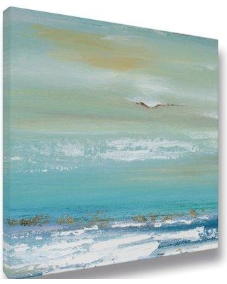 Highland Dunes 'Ocean 01' Acrylic Painting Print on Wrapped Canvas BI133253