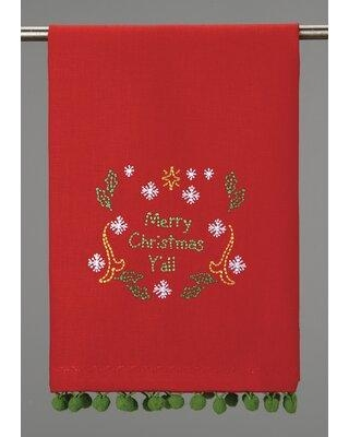 The Holiday Aisle Merry Christmas Y'all Pom Pom Embroidered Tea Towel W000011519