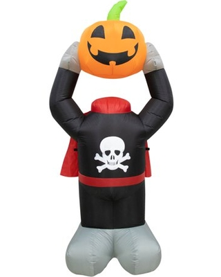 Haunted Hill Farm 6-ft. Headless Pumpkin Inflatable with Arm Motion and Lights