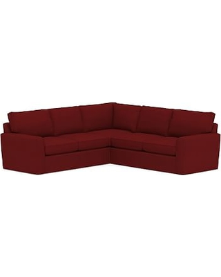 Pearce Square Arm Slipcovered 2-Piece L-Shaped Sectional, Down Blend Wrapped Cushions, Twill Sierra Red
