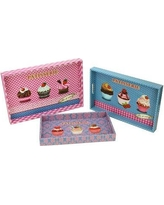 Northlight 3 Piece Decorative Patisserie and Cupcakes Rectangular Serving Tray Set MM78016