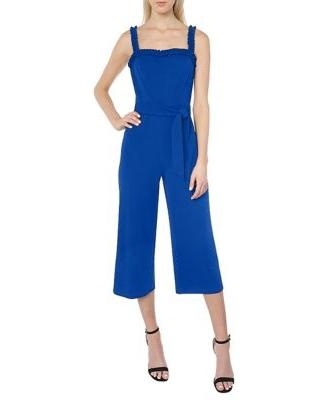Bebe Royal Women's Ruffle Jumpsuit With Tie