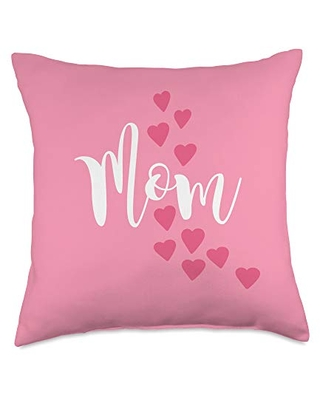 Mom Shirts by Southerngal Mom Gifts From Kids to Mommy Pretty Pink Hearts Mother's Day Throw Pillow, 18x18, Multicolor