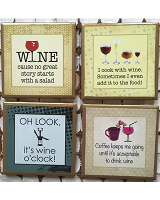 Coasters! Set of funny wine drinkers coasters with gold trim