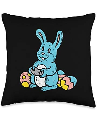 Easter Pillows for Kids Toddler Boys Girls Gifts Rabbit Bunny Playing Video Boys Easter Gaming Gamer Throw Pillow, 16x16, Multicolor