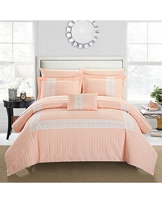 Chic Home Titian 8 Piece Comforter Hotel Collection Hexagon Embossed Paisley Print Border Design Bed in a Bag-Sheet Set Decorative Pillow Shams Included, Queen, Blush