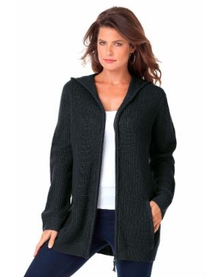 Plus Size Women's Thermal Hoodie Cardigan by Roaman's in Black (Size 6X)