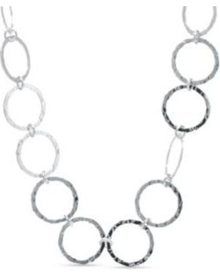 Belk Silverworks Silver Fine Silver Plated Hammered Open Circle Collar Necklace