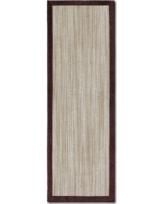 """2'4""""x7' Runner Solid Woven Boarder Rug Red - Threshold"""