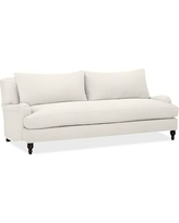 """Carlisle Upholstered Sofa 80"""" with Bench Cushion, Down Blend Wrapped Cushions, Denim Warm White"""