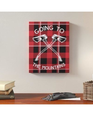 """Loon Peak 'Going To the Mountains Axes and Plaid' Graphic Art Print LOPK3854 Format: Wrapped Canvas Size: 30"""" H x 24"""" W"""