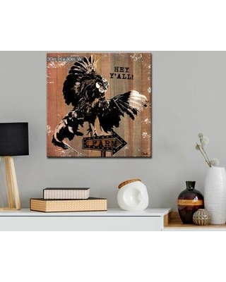 "Gracie Oaks 'Rooster Fly' Graphic Art Print on Wrapped Canvas BF187556 Size: 30"" H x 30"" W x 1.5"" D"