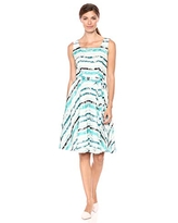 Gabby Skye Women's Sleeveless Scoop Neck Stripe Lace Fit and Flare Dress, Ivory/Teal/Black, 4