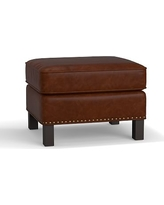 Tyler Leather Ottoman with Bronze Nailheads, Polyester Wrapped Cushions, Leather Statesville Molasses