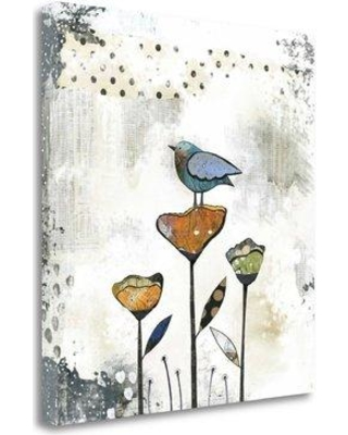 "Tangletown Fine Art 'Bird on Three Flowers' Graphic Art Print on Wrapped Canvas SBSO1089-2123c Size: 37"" H x 35"" W"