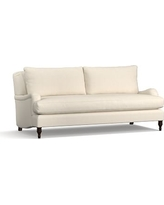 "Carlisle Upholstered Sofa 80"" with Bench Cushion, Polyester Wrapped Cushions, Textured Basketweave Flax"