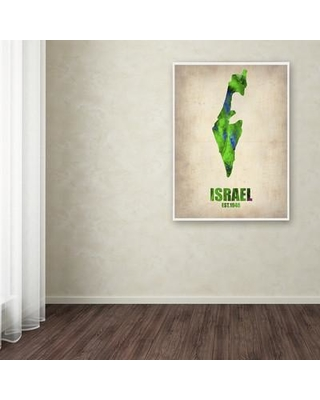 """Trademark Art 'Israel Watercolor Map' Graphic Art on Wrapped Canvas ALI0178-C Size: 47"""" H x 35"""" W x 2"""" D"""