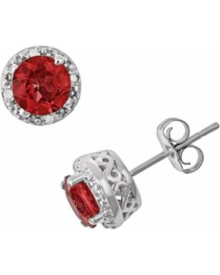 Sterling Silver Garnet and Diamond Accent Frame Stud Earrings, Women's, Red