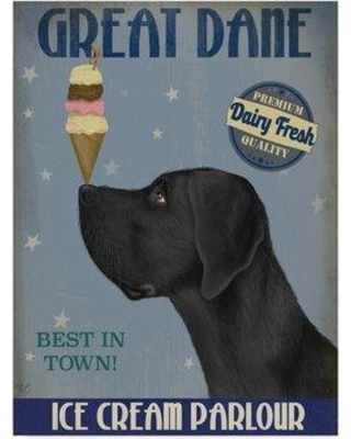 "Winston Porter 'Great Dane Black Ice Cream' Graphic Art Print on Wrapped Canvas WNPO3876 Size: 32"" H x 24"" W x 2"" D"