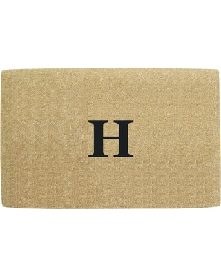 Nedia Home No Border 22 in. x 36 in. Heavy Duty Coir Monogrammed H Door Mat, Beige/Brush
