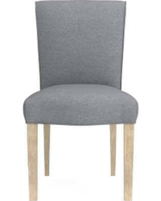 Fitzgerald Dining Side Chair, Perennials Performance Canvas, Charcoal, Heritage Grey Leg