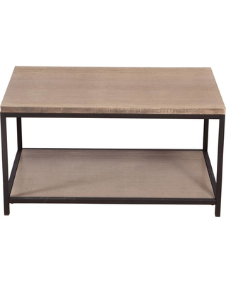 Eccostyle Brushed Gray 2-Tier Solid Bamboo Steel Frame Coffee Table, Wire Brushed Gray