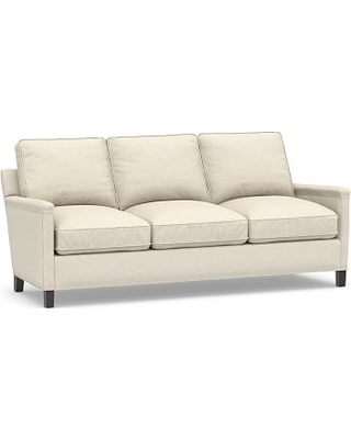 Tyler Square Arm Upholstered Sofa without Nailheads, Down Blend Wrapped Cushions, Textured Basketweave Flax