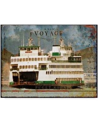 """East Urban Home 'Voyage to Puget Sound' Graphic Art Print on Wrapped Canvas W001118696 Size: 24"""" H x 32"""" W x 2"""" D"""