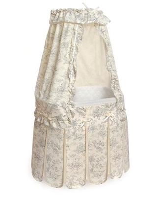 Badger Basket Majesty Baby Bassinet with Canopy, Black Toile