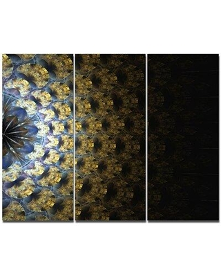 "Design Art 'Symmetrical Gold Fractal Flower' Graphic Art Print Multi-Piece Image on Canvas, Canvas & Fabric in Brown, Size Medium 25""-32"" 