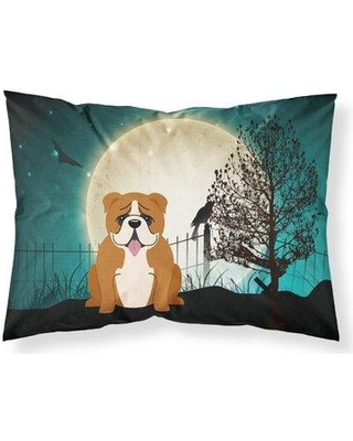 The Holiday Aisle Smyth Halloween Scary Manchester Terrier Pillow Case W001342566 Dog Breed: Red White English Bulldog