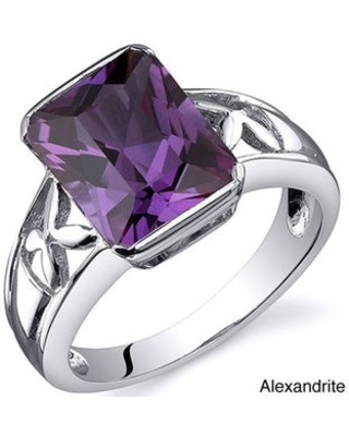 Oravo Sterling Silver Radiant Gemstone Ring (Alexandrite Size 5)