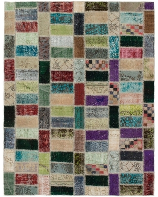 Hand-knotted Color Transition Patchwork Green, Purple Wool Rug - 5'7 x 7'4