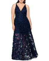 Xscape 3D Lace A-Line Gown, Size 14W in Navy at Nordstrom