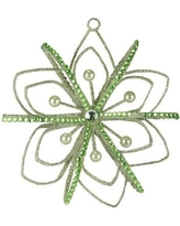 """The Holiday Aisle 4.5"""" Pastel Jeweled and Faux Pearl Snowflake Christmas Shaped Ornament THDA7543"""