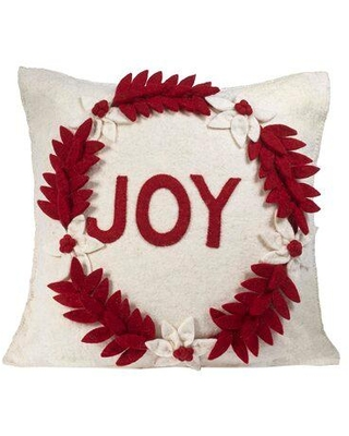 The Holiday Aisle Dehon Hand Felted Wool Throw Pillow BI144258 Color: Cream