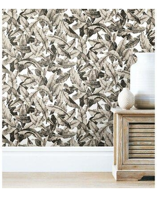 """Bungalow Rose Lybarger Palm 20.5' L x 16.5"""" W Peel and Stick Wallpaper Roll W000646565 Color: Tan"""