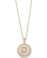 "14k Gold Over Silver Cubic Zirconia Initial Pendant Necklace, Women's, Size: 18"", Yellow"