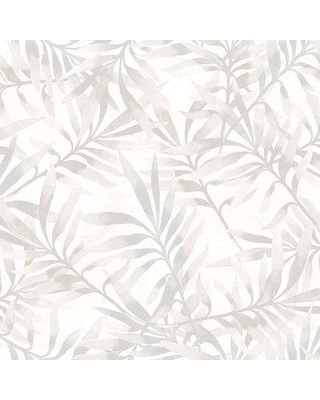 """Walls Republic Tropical Leaf Branch Floral 33' x 20.8"""" Wallpaper Roll R4 Color: Gray / White"""