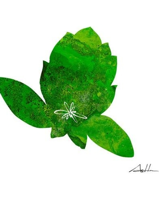 """GreenBox Art 'Green Design Lotus' by Andy Anh Ha Painting Print on Wrapped Canvas NI2746 / NI2752 Size: 14"""" H x 14"""" W x 1.5"""" D"""