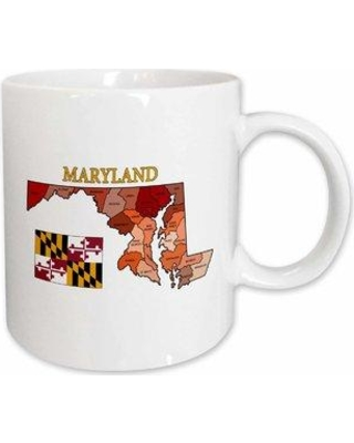 East Urban Home Flag and Map of Maryland with Each County and Labeled Coffee Mug W000864377 Color: Blue