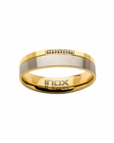 Men's Steel Gold-Tone Plated 5 Piece Clear Diamond Ring - Gold-tone