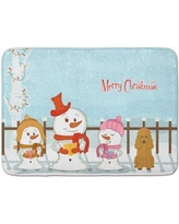 The Holiday Aisle Merry Christmas Carolers Poodle Memory Foam Bath Rug THLA5325 Color: Tan