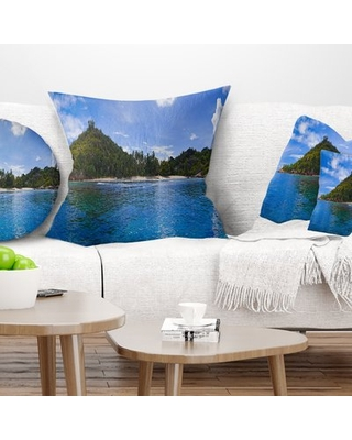 """Seascape Tropical Island at Seychelles Panorama Pillow East Urban Home Size: 18"""" x 18"""", Product Type: Throw Pillow"""